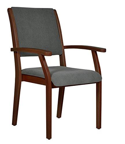 DEVITA - Seniorenstuhl Pflegestuhl Kerry - Verschiedene Sitzhöhen wählbar von 43 cm bis 55 cm (52 cm Sitzhöhe, Holz: Buche dunkel gebeizt - Bezug: 147 Microfaser Taube)