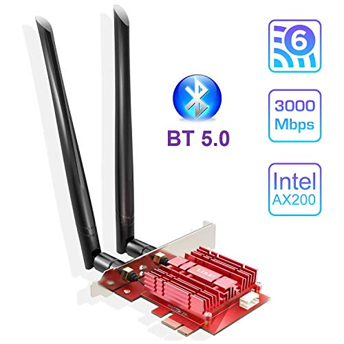 EDUP WiFi 6 Card Bluetooth 5.0 with Heat Sink, PCIe Network Card AX 3000Mbps AX200 802.11AX 2.4Ghz/5.8Ghz Wireless PCI Express Wi-Fi Adapters Dual Band Antenna for Windows 10 64-bit