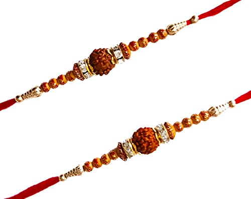 Set of 2 Beautiful RUDRAKSH and diamond Multicolored Rakhi With Roli Chawal For Brother(Men/Boys)