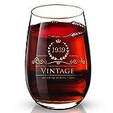 DesBerry 80. Geburtstags- / Jubiläumsgeschenke Weinglas ohne Stiel, Weingläser mit24k Gold handgefertigte Jahreszahl 1939 Universalbecher (1 Stück)