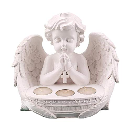 OFAY Candle Holder Tealight Candlestick Praying Angel Statue Ornaments Living Room Decorations Memorial Sympathy Gifts