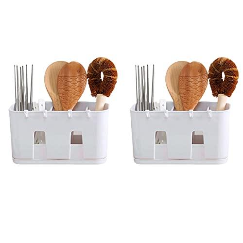 Batchelo 2 soportes para utensilios de cocina, soporte para colgar en la pared, estante de almacenamiento de cubiertos, palillos, cuchara tenedor organizador cesta, para encimera de, color blanco
