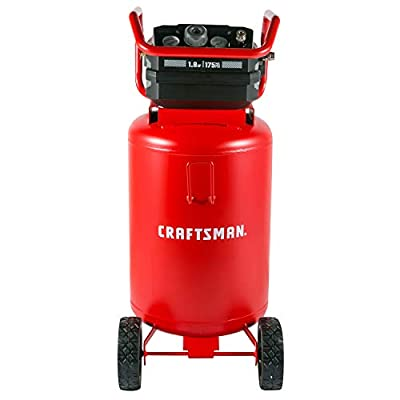 Craftsman Air Compressor, 20 Gallon Oil-Free 1.8 HP Max 175 PSI Pressure Two Quick Couplers Big Capacity, Red- CMXECXA0232043