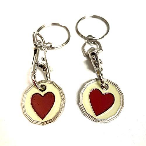 UK Phoenix Einkaufswagenchip Schlüsselanhänger, 1-Pfund-Münze, Schließfach, Fitnessstudio, Einkaufskorb, Asda Aldi Lidl Tesco (2 x Herz)