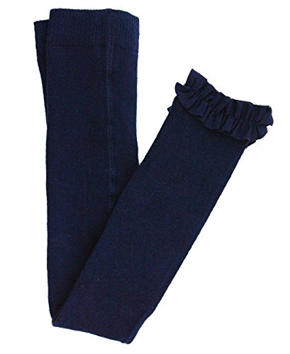 RuffleButts Girls Navy Footless Ruffle Tights - 6-8