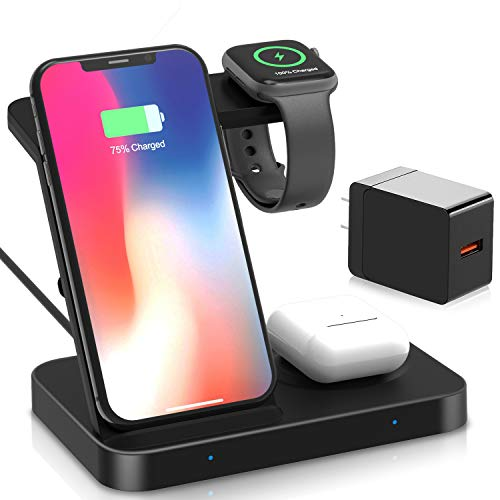 Wireless Charger,MQOUNY 5 in 1 Charging Stand Compatible with Apple iWatch 5/4/3/2/1, Aripod Pro/2,Galaxy Watch 42mm/46mm/Active,Gear S3,Qi Fast Wireless Charging Compatible with Qi Phone (Black)
