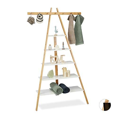 Relaxdays Ladderrek met 5 planken, badkamer, hal & woonkamer, bamboe & MDF, rek met 7 haken, 160 x 90 x 38 cm, wit, MDF platen, bamboe