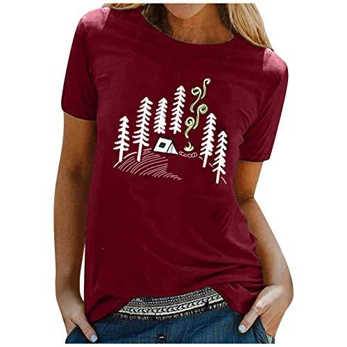 Camiseta, Sudadera con Cuello Redondo de Manga Corta con Estampado Creativo para Mujer Sudadera Holgada de Moda de Verano Camiseta de Adolescente Blusa Tops de túnica Tops Casuales de Moda