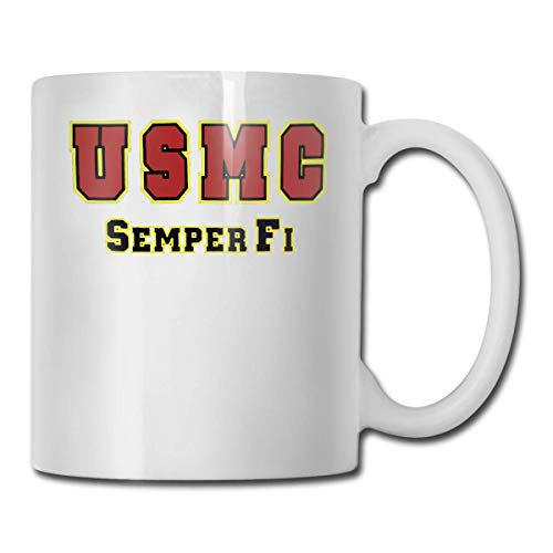 U S Marine Corps Semper Fi mejor idea de regalo, divertida taza de café blanca de cerámica