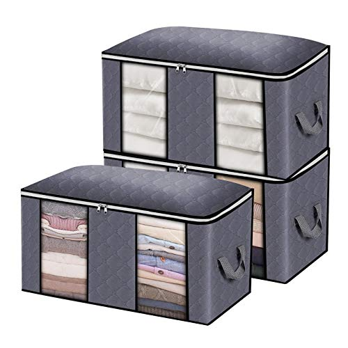 king do way Large Capacity Clothes Storage Bag Organizer with Zips,Carry Handles Thick Fabric...