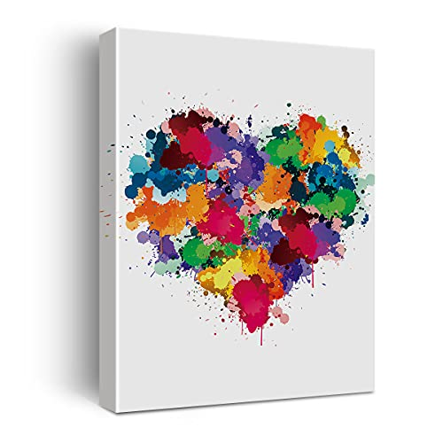 Heart Watercolor Poster Canvas Wall Art for Home/Office/Bedroom Decor - Heart Love Canvas Print Wall Art Painting Ready to Hang Gifts - Easel & Hanging Hook 12x15 Inch