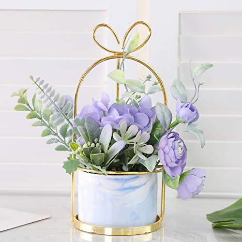 Veryhome - Flores artificiales hortensia crisantemo en maceta de flores artificiales para colgar en maceta para la familia viva habitación, oficina, fiesta, decoración