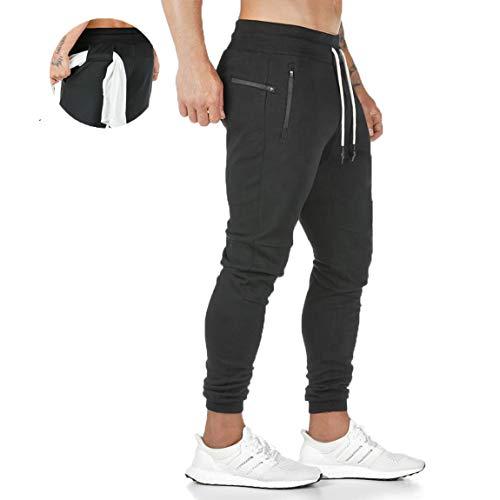 ZOXOZ Pantaloni Tuta Uomo Pantaloni Sportivi Uomo Cotone Leggero Pantaloni Fitness Gym Palestra Uomo Pantalone Stretti Nero L