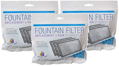 Pioneer Pet 3 Pack of Replacement Filters for Plastic Fountains, 3 Filters Per Pack