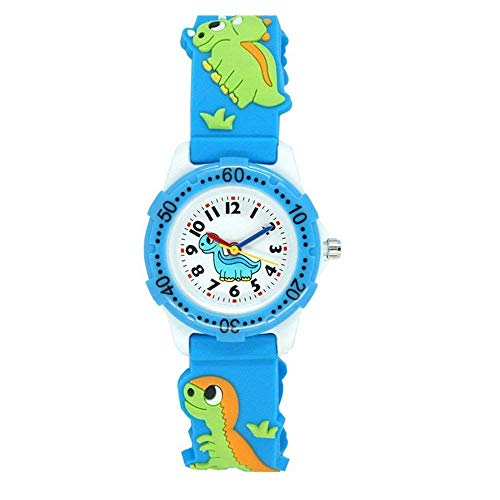 Kids Watch for Boys Girls, Toddler Watch Digital Analog Wrist Waterproof Watches with 3D Cute Cartoon Silicone Band, for 3-10 Years Old Childrens (A Dinosaur Blue)