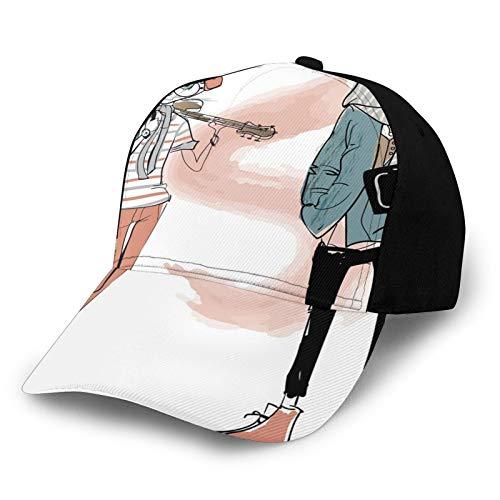 Gorra de béisbol para papá de tamaño ajustable para correr entrenamientos y actividades al aire libre, diseño urbano de gato, personajes de perro, músico, guitarrista, intelectual, muchacha