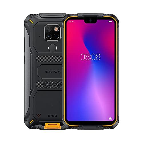 73HA73 Smartphone S68pro IP68 a Prueba de Agua 6GB-128GB 6300mAh a Prueba de Golpes Teléfono Celular Resistente Android 9.0 Triple Cámara Identificación de Rostro/Huella Digital 5.9',Orange