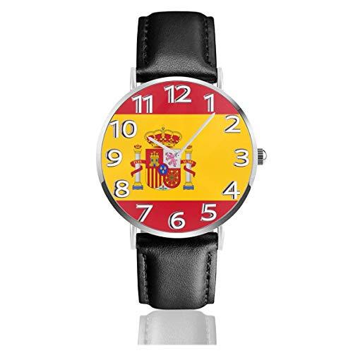 Reloj de Pulsera Reloj de Cuarzo Casual clásico con Bandera de España Reloj de Correa de Cuero...