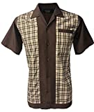 Rockabilly Fashions - Camisa informal para hombre, diseño de bolos de los años 50 y 60 Marrón L