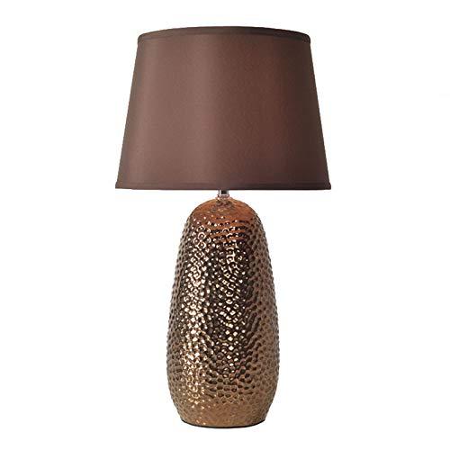 Lámparas Rústica lámpara de mesa con textura martillada Cerámica avena lino tambor...