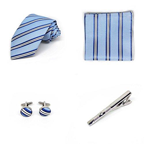 S.R HOME Coffret Cadeau Ensemble Cravate homme, Mouchoir de poche, épingle et boutons de manchette Rayures Bleues et Blanches