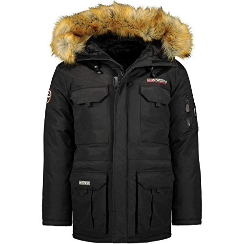 Geographical Norway Bottle Men - Parka caldo da uomo, impermeabile, con cappuccio in pelliccia sintetica, giacca calda da vento, invernale, fodera esterna, giacca da uomo (Nero, M)