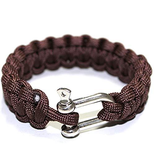 Outdoor Edelstahl Schnalle Armband, U-Förmige Legierung Schnalle Geflochtenes Armband, Sieben-Kern-Regenschirm Seil Armband Rettungs Überleben Seil Armband