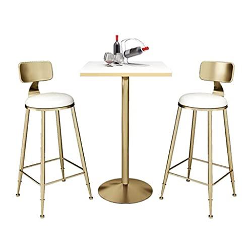 HQBL Mesa de Bar Cuadrada Moderna de mármol para Patio-Mesas Altas de Pub fáciles de Instalar Muebles de mostrador pie Escritorio -Tapa mármol 55 cm, Altura 105 cm, para Sala Estar,Comedor,bistró