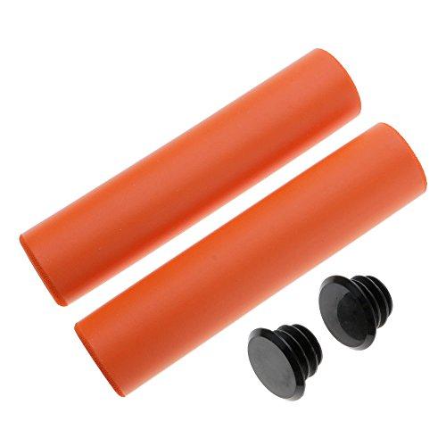 VANKER Puños ergonómicos antideslizantes de silicona suave para manillar de bicicleta de montaña (naranja)
