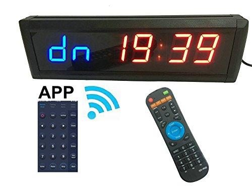 GANXIN App Control 1.8'' alta 6 cifre LED conto alla rovescia/sveglia per modalità timer a intervalli alternati, 12/24-H orologio in tempo reale, cronometro con telecomando