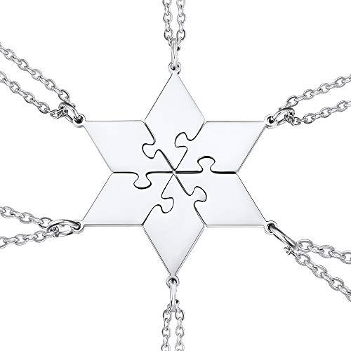 U7 Hexágono Collar Moderno Puzzle Rompecabezas 6 Piezas Acero Inoxidable 316L Tono Plateado Regalo de Familia Cadenas Finas 46cm