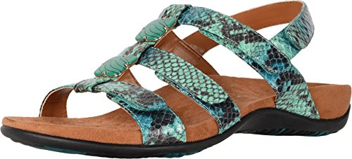 Vionic Women's Women's Rest Amber Backstrap Sandal - Ladies Adjustable Walking Sandals with Concealed Orthotic Arch Support Teal Snake 9 Medium US