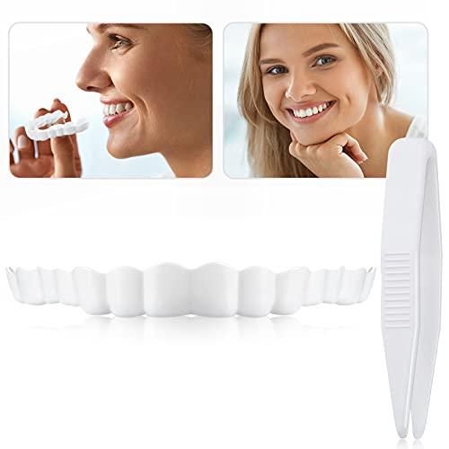Dentaduras Postizas Instantáneas Dentadura Serrada de Sonrisa para Dientes Falsos Dientes Postizos con Mini Pinzas para Hombre y Mujer (2 Piezas) 🔥