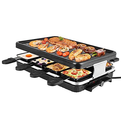 Kacsoo Parrilla de mesa para raclette para 8 personas, parrilla de barbacoa eléctrica de 1300 W...