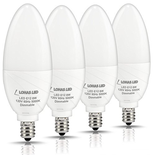 LOHAS Dimmable Candelabra Bulb LED, 5000K Daylight E12 Candelabra Base Light, 75W Light Bulbs Equivalent(8W), 750 Lumens, Kitchen Chandelier Light for Lamp Fixtures, 120 Volts(Pack of 4)