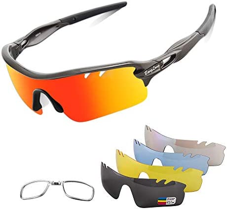 Polarized Sports Sunglasses Cycling Sun Glasses for Men Women with 5 Interchangeable Lenes for product image