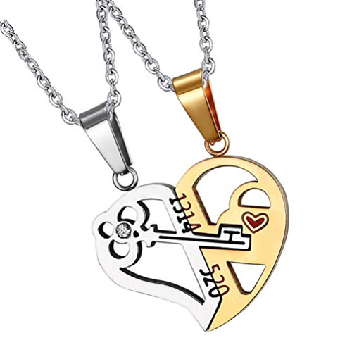 Holibanna 2PCS Heart Puzzle Necklace Lock Key Couple Pendant Necklace Matching Chains Hollow Stainless Steel 1314 Love Heart Personalized 520 Romantic Jewelry Gift for Valentines Day Birthday Wedding