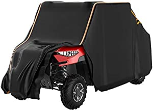 UTV Cover, kemimoto Waterproof 4-Seats 2-Row Seating 420D Heavy Duty Cover with Reflective Strips Compatible with Polaris Ranger Crew 570 900 1000 XP RZR CAN AM Pioneer Kawasaki 4 Doors