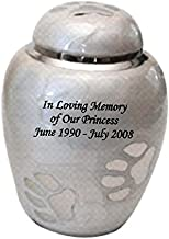NWA Customized Paw Funeral Cremation Urn, Pet urn with Personalized Engraving