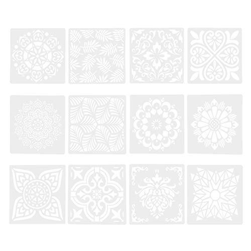 DOITOOL Plantillas de Plástico de 12 Piezas para Pintar en Madera Papel Tela Vidrio Y Plantillas de Plantillas de Dibujo en...