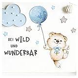 Little Deco Sticker Spruch sei wild & Teddybär I Wandbild S - 98 x 36 cm (BxH) I Luftballon Wandtattoo Kinderzimmer Junge Babyzimmer Tiere Wandbilder Deko Kinder DL327