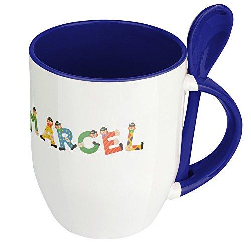 Namenstasse Marcel - Löffel-Tasse mit Namens-Motiv Holzbuchstaben - Becher, Kaffeetasse, Kaffeebecher, Mug - Blau