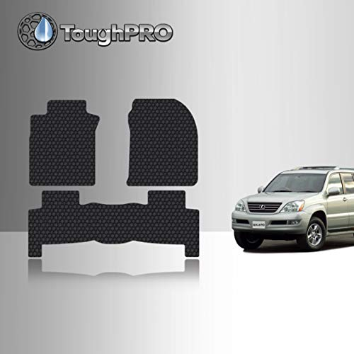 TOUGHPRO Floor Mat Accessories Set (Front Row + 2nd Row) Compatible with Lexus GX470 - All Weather - Heavy Duty - (Made in USA) - Black Rubber - 2003, 2004, 2005, 2006, 2007, 2008, 2009