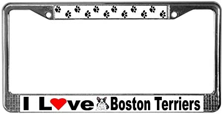 CafePress I Love Boston Terriers License Plate Frame Chrome License Plate Frame License Tag product image
