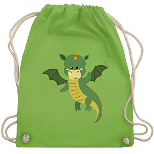 Tiermotive Kind - Drache - Unisize - Hellgrün - swimming bag - WM110 - Turnbeutel und Stoffbeutel aus Baumwolle