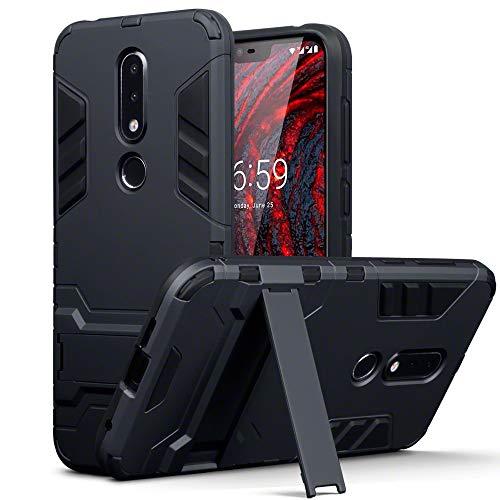 TERRAPIN, Kompatibel mit Nokia 6.1 Plus Hülle, Silikon + Polycarbonat Tasche mit Standfunktion - Schwarz