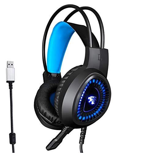 Mazu Homee Auriculares PS4 para juegos, con micrófono, conector de 3,5 mm, 7,1 USB que aprenden a reducir el ruido de los auriculares, adecuado para PC, portátil, tableta y teléfonos inteligentes Mac