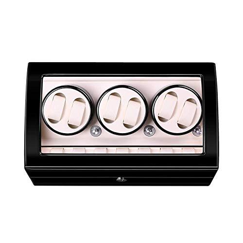 XUSHEN-HU 6+7 Uhrenbeweger aus Holz, automatischer Uhrenbeweger Box Uhrenkasten Aufbewahrung Display Uhrenbox mit Hochglanz-Klavierlack