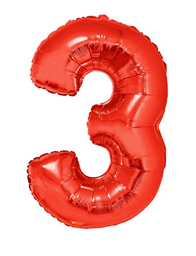 TrendClub100® Geburtstag XXL Luftballons Ballon - Riesen Folienballon 102 cm - Rot Zahl 3