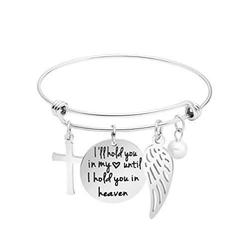 Awegift MEMGIFT Memorial Jewelry Loss of Loved Mom Dad Grandma Expandable Bracelet Angel Wing I'll Hold You in My Heart Until I can Hold You in Heaven